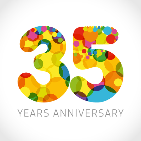 35 th anniversary numbers. 35 years old multicolored logotype. Congrats age greetings, congratulation idea. Isolated abstract graphic design template. Colored digits up to -35% percent off discount.