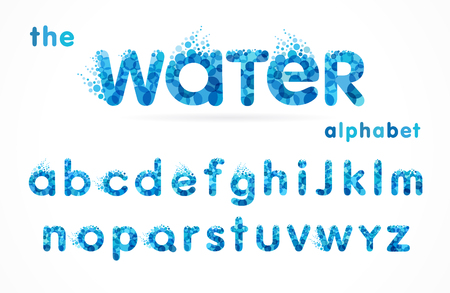 Fuente de gotas de agua, alfabeto azul divertido, letras y ondas. Diseño de icono de abc de vector de agua mineral natural