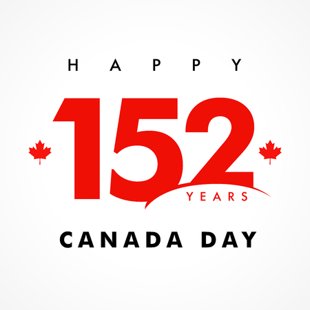 Happy Canada Day with lettering 152 years and maple leaf. Logotype of 1st of July as a numbers isolated graphic design template. I love Canada, t-shirt print idea. Vector illustration