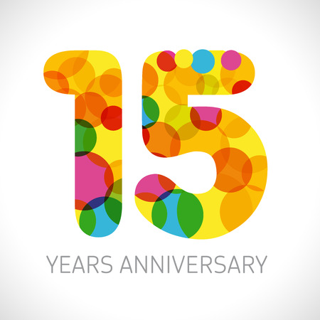 15 th anniversary numbers. 15 years old multicolored logotype. Congrats age greetings, congratulation idea. Isolated abstract graphic design template. Colored digits up to -15% percent off discount.