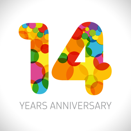14 th anniversary numbers. 14 years old multicolored logotype. Age congrats, congratulation art idea. Isolated abstract graphic design template. Colored digits up to -14% percent off discount.