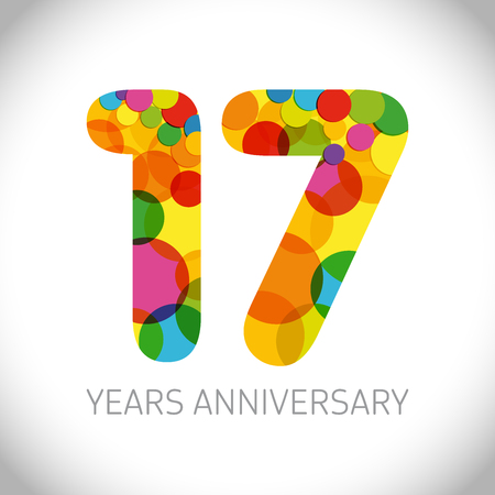 17 th anniversary numbers. 17 years old multicolored logotype. Age congrats, congratulation art idea. Isolated abstract graphic design template. Colored digits up to -17% percent off discount.