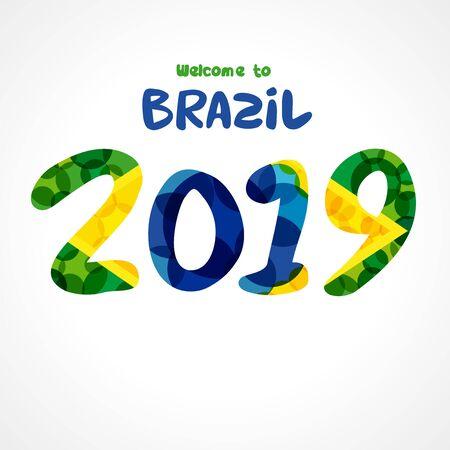 Welcome to Brazil 2019 poster. World Championship of Brazil flag colors. Conmeball Copa America 20 19. Vector illustration Stockfoto - 125024492