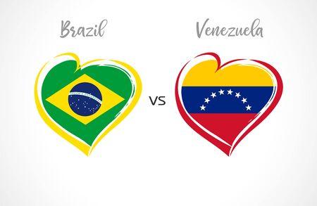 Brazil vs Venezuela, national team soccer flags on white background. Brazilian and Venezuelan flag in a heart, logo vector. Conmeball Copa America 2019 Stockfoto - 125024497