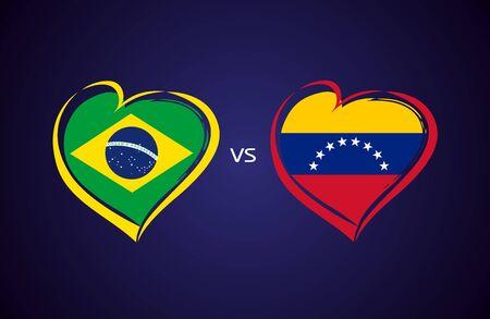 Brazil vs Venezuela, national team soccer flags on blue background. Brazilian and Venezuelan flag in a heart, logo vector. Conmeball Copa America 2019 Stock Illustratie