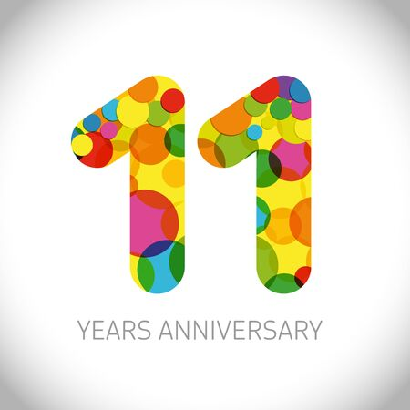 11 th anniversary numbers. 11 years old multicolored logotype. Age congrats, congratulation art idea. Isolated abstract graphic design template. Colored digits up to -11% percent off discount.