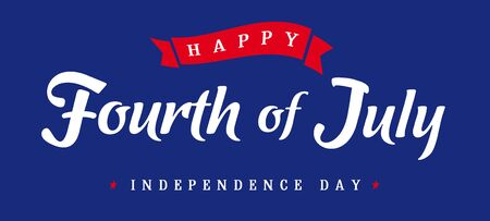 Fourth of July, United States of America Independence Day vintage banner blue. Calligraphic 4th of July typography logo design for banner or poster. Vector Illustration