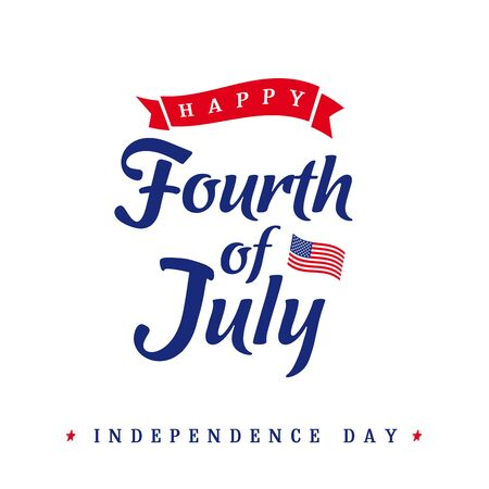 Fourth of July, United States of America Independence Day vintage card. Calligraphic 4th of July typography logo design for banner or poster. Vector Illustration