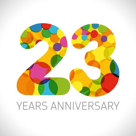 23 th anniversary numbers. 23 years old multicolored logotype. Age congrats, congratulation art idea. Isolated abstract graphic design template. Colored digits up to -23% percent off discount.