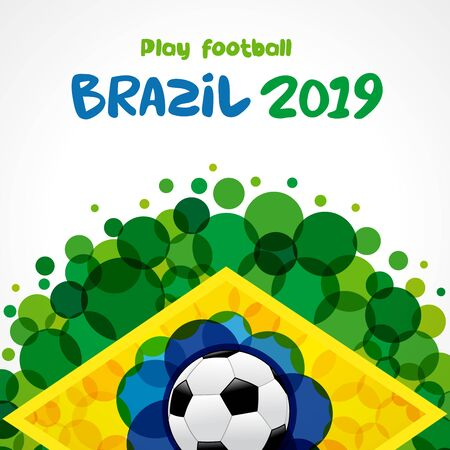 Play football, welcome to Brazil 2019 poster. Soccer ball pattern. World championship Copa America 2019 in Brasil. Vector illustration Çizim