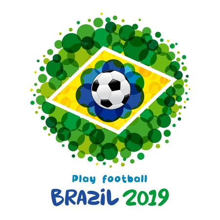 Play football lettering, Brazil 2019 banner. Soccer ball pattern. Welcome to championship Copa America 2019 in Brasil. Vector illustration