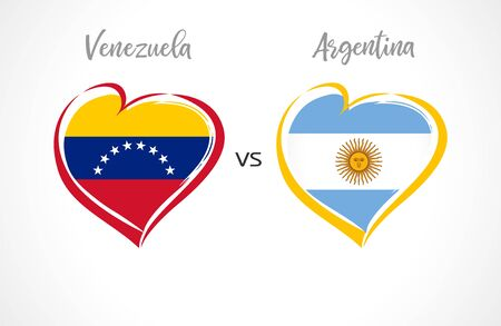National football team flags on white background. Venezuelan and Argentinian flag in heart, logo vector. Copa America 2019