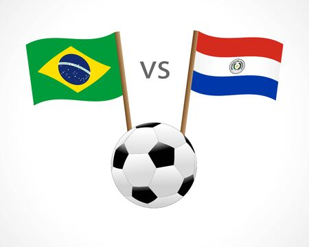 Brazil vs Paraguay, national team soccer flags on white background. Uruguayan and Peruvian flag and soccer ball, vector. Football Championship