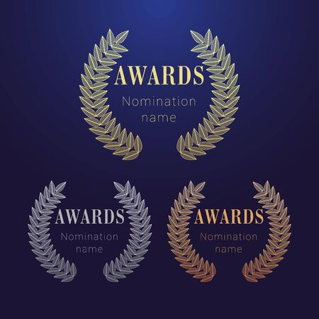 Awards set. Isolated abstract graphic design template. Celebrating pattern, # 1 # 2 # 3 place round round symbols. Vector illustration