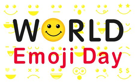 World Emoji Day poster. Smile icon and lettering World Emoji Day on white background. Cute emoticon face vector illustration