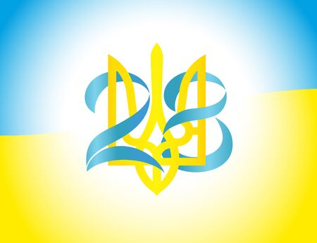 28 years anniversary  with Ukrainian emblem and numbers on flag. National Holiday in Independence Day, greetings card. Vector illustration