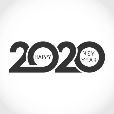 2020 Xmas numbers.  Abstract isolated graphic design template. Congrats concept. Monochrome emblem. Seasonal sale digits idea. Ilustração