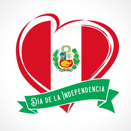 Peru Independence Day greeting card. Spanish text of Independence Day: July 28, banner. Vector illustration