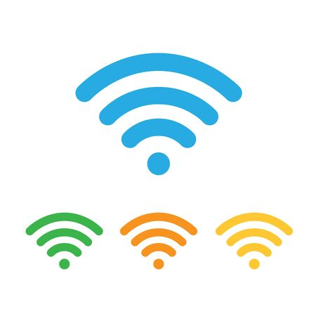 Wifi vector colored icon, sign. Free WiFi blue, green, red and orange colors