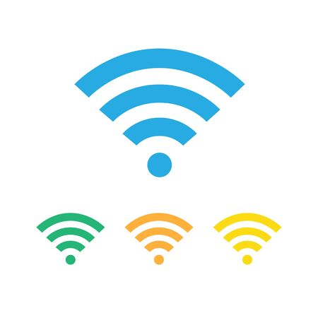 Wifi vector flat colored icon, sign. Free WiFi blue, green, red and orange colors