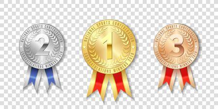 Campione di medaglie d'oro, d'argento e di bronzo con nastri rossi isolati su sfondo trasparente. Il primo, il secondo, il terzo posto del torneo, i premi del concetto di vittoria