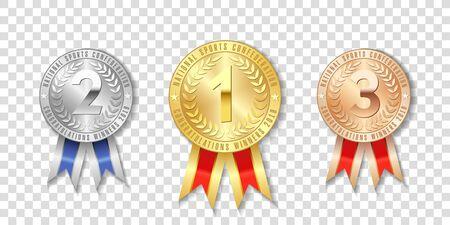Champion gold, silver and bronze award medals with red ribbons isolated on transparent background. The first, second, third place on the tournament, victory concept prizes Illustration