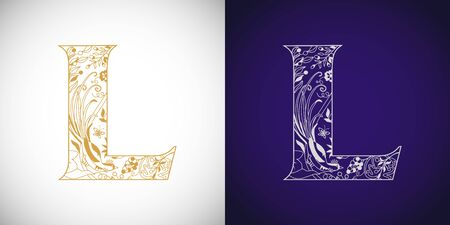 L Cutting golden. L-name idea. Concept of capital letter L in ethnical vip style. Isolated abstract graphic design template. Decorative symbol, royal fairy bird, grape. Brand identity