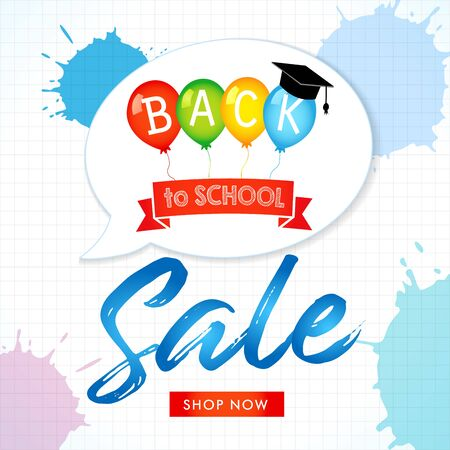 Helium balloons on squared paper. Special offer discount design for web banner, back to school text in bubble. Vector illustration