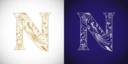 N Cutting golden. N-name idea. Concept of capital letter N in ethnical vip style. Isolated abstract graphic design template. Decorative symbol, royal fairy bird, grape. Brand identity