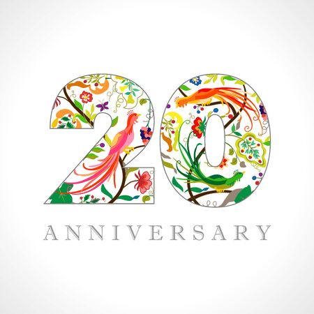 20 years old logotype. 20th anniversary numbers. Decorative symbol. Age congrats with peacock birds. Isolated abstract graphic design template. Royal colored digits. Up to 20% percent off discount. Ilustração
