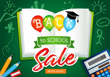 Back to school sale banner by chalk in blackboard with school items and colorful balloons. Special offer discount vector design for poster, Welcome back to school text in balloons on open book