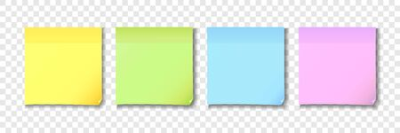 Yellow, green, blue and pink sticky notes paper. Colored post note paper on transparent background. Vector illustration
