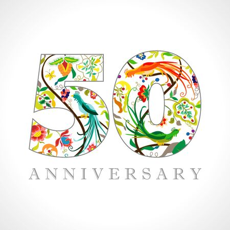 50 years old logotype. 50th anniversary numbers. Decorative symbol. Age congrats with peacock birds. Isolated abstract graphic design template. Royal colored digits. Up to 50% percent off discount
