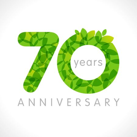 70 th anniversary numbers. 70 years old. Age congrats, congratulation idea with leaves. Isolated abstract graphic design template. Herbal digits, up to 70% percent off discount. Eco label