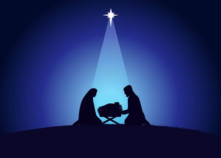 Christmas scene of baby Jesus in the manger with Mary and Joseph in silhouette, surrounded by star. Christian Nativity greeting card birth of Christ, vector banner