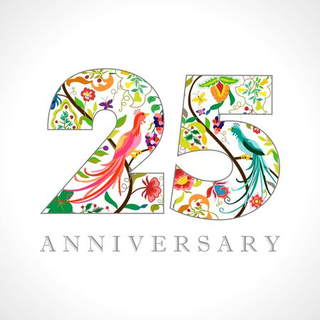 25 years old logotype. 25th anniversary numbers. Decorative symbol. Age congrats with peacock birds. Isolated abstract graphic design template. Royal colored digits. Up to 25% percent off discount.