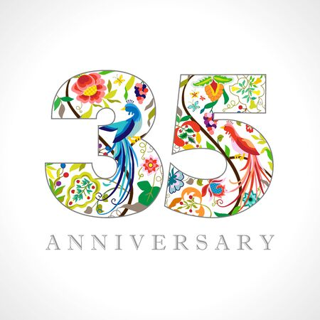 35 years old logotype. 35th anniversary numbers. Decorative symbol. Age congrats with peacock birds. Isolated abstract graphic design template. Royal colored digits. Up to 35% percent off discount.