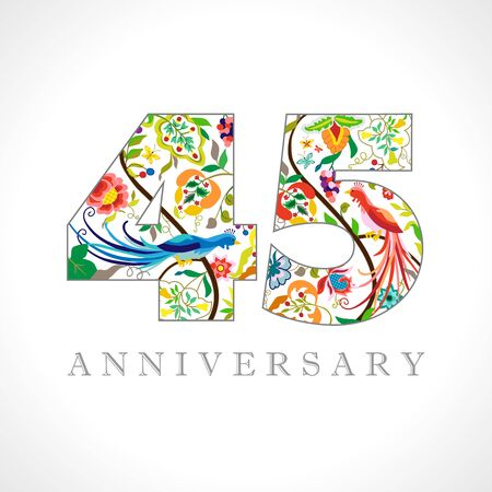 45 years old logotype. 45th anniversary numbers. Decorative symbol. Age congrats with peacock birds. Isolated abstract graphic design template. Royal colored digits. Up to 45% percent off discount.
