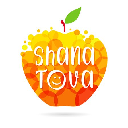 Happy jewish new year congrats. Shana tova text. Abstract isolated graphic design template. Meal and fruit elements. Honey apple with bubbles and inscription. Celebrating congratulating decorative sign.