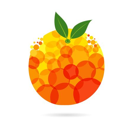 Orange concept. Orange and yellow colored fruit idea with bubbles on white background. Isolated abstract graphic design template. Organic meal bright element with transparent effect.  イラスト・ベクター素材