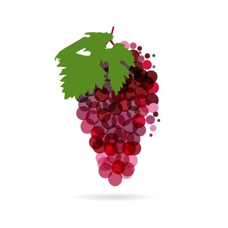 Grapes concept. Bunch of grapes purple colored idea with bubbles on white background. Isolated abstract graphic design template. Organic meal, t-shirt bright element, transparent effect
