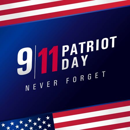 Patriot day USA Never forget 9.11, vector poster. Patriot Day, September 11, We will never forget, blue banner with USA flag 向量圖像