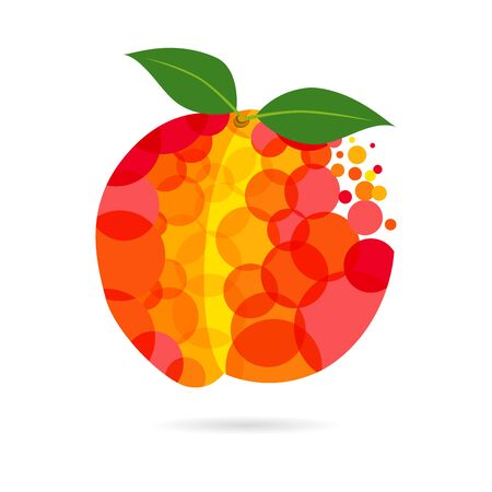 Peach logotype concept. Red and yellow colored fruit logo idea with bubbles on white background. Isolated abstract graphic design template. Organic meal, t t-shirt bright element, transparent effect. Imagens - 129196879