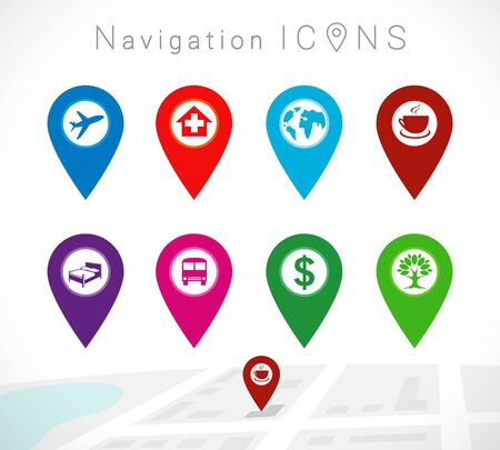 Maps and colored pins icons. Make your own custom location pin icon. Map with cafe point place symbol. Navigation and route concept illustration. Vector tag for contact web page