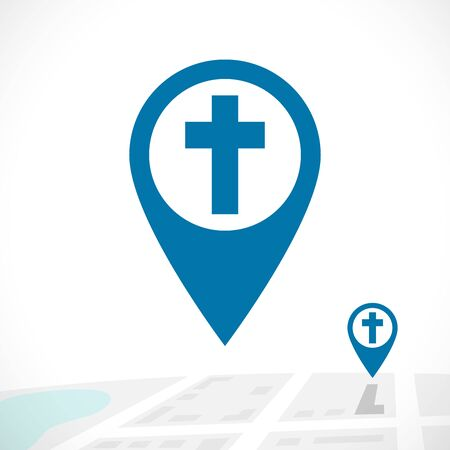 Christian pin icon. GPS navigation with cross symbol on 3D map concept. Location for religious events. Isolated abstract graphic design template. Blue colored button, sign on white background