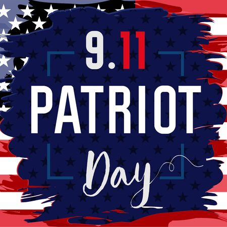 Patriot day USA Never forget 9.11 vector banner. Patriot Day, September 11, We will never forget with USA flag in grunge style 向量圖像