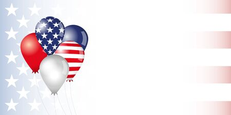 USA banner. Set of flag balloons. Baloons painted in colors of the US flag. Isolated abstract graphic design template. Creative decorative 3D elements. Decoration idea for political or national events 일러스트