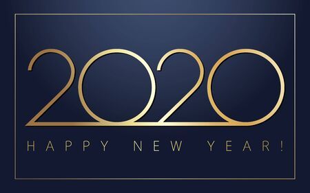 2020 Happy New Year golden simple signs. Minimal 2020 happy new year symbols for calendar design. Vector illustration with gold Xmas holiday label isolated on navy blue background