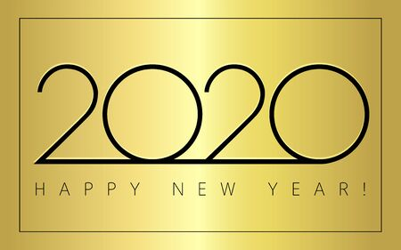 2020 Happy New Year simple signs. Minimal 2020 happy new year symbols for calendar template design. Vector illustration with gold Xmas holiday label isolated on golden background