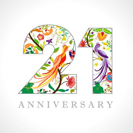 21 years old. 21 th anniversary numbers. Decorative symbol. Age congrats with peacock birds. Isolated abstract graphic design template. Royal colored digits. Up to 21% percent off discount Archivio Fotografico - 129521192